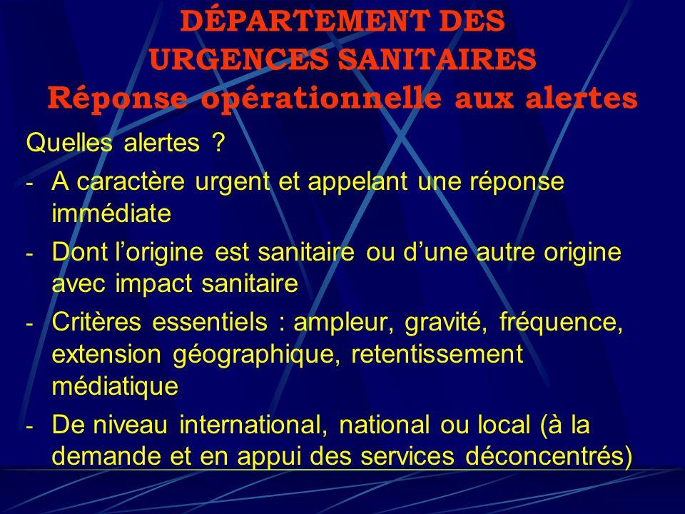 DÉPARTEMENT DES URGENCES SANITAIRES Réponse opérationnelle aux alertes Quelles alertes ? - A caractère urgent et appelant une réponse immédiate - Dont