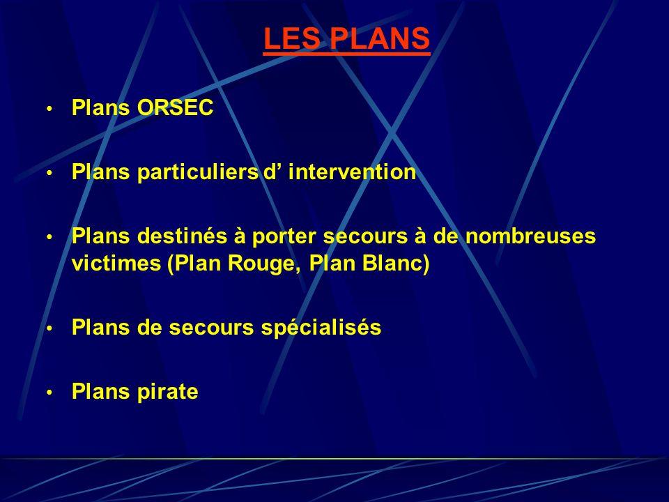 LES PLANS Plans ORSEC Plans particuliers d intervention Plans destinés à porter secours à de nombreuses victimes (Plan Rouge, Plan Blanc) Plans de sec