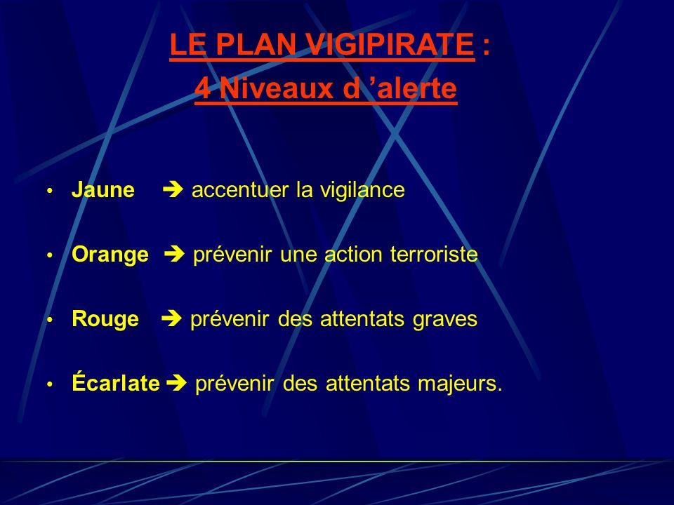 LE PLAN VIGIPIRATE : 4 Niveaux d alerte Jaune accentuer la vigilance Orange prévenir une action terroriste Rouge prévenir des attentats graves Écarlat