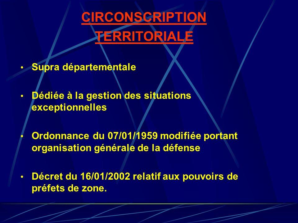CIRCONSCRIPTION TERRITORIALE Supra départementale Dédiée à la gestion des situations exceptionnelles Ordonnance du 07/01/1959 modifiée portant organis