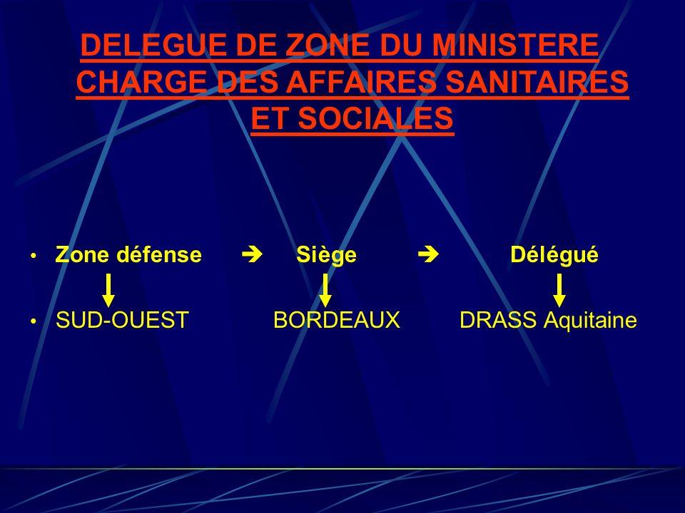 DELEGUE DE ZONE DU MINISTERE CHARGE DES AFFAIRES SANITAIRES ET SOCIALES Zone défense Siège Délégué SUD-OUEST BORDEAUX DRASS Aquitaine