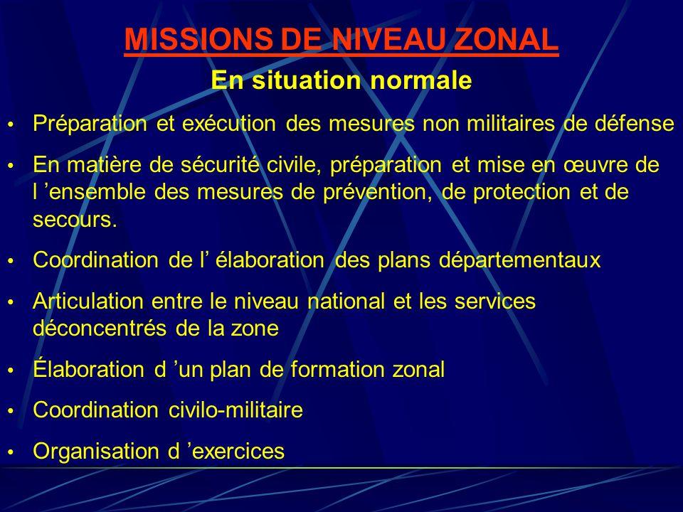 MISSIONS DE NIVEAU ZONAL En situation normale Préparation et exécution des mesures non militaires de défense En matière de sécurité civile, préparatio