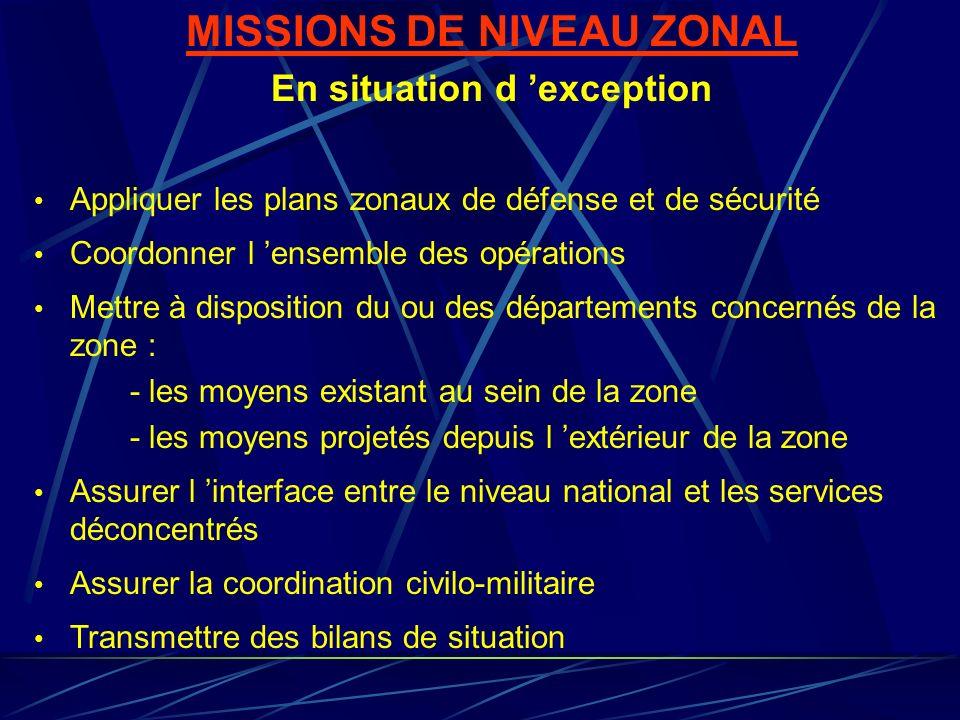 MISSIONS DE NIVEAU ZONAL En situation d exception Appliquer les plans zonaux de défense et de sécurité Coordonner l ensemble des opérations Mettre à d