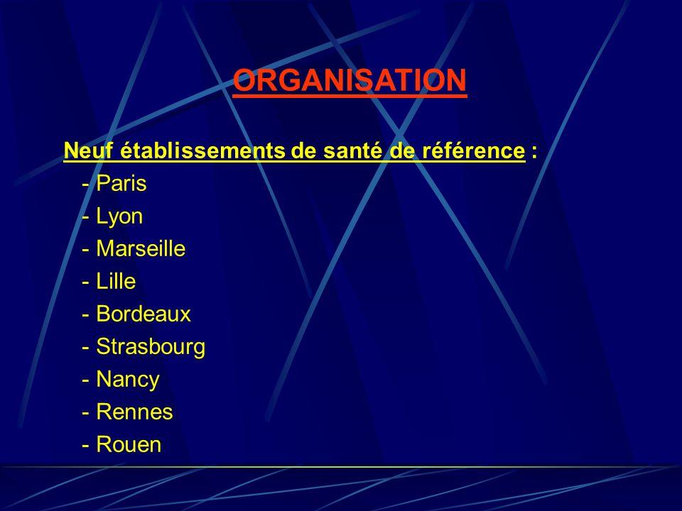 ORGANISATION Neuf établissements de santé de référence : - Paris - Lyon - Marseille - Lille - Bordeaux - Strasbourg - Nancy - Rennes - Rouen