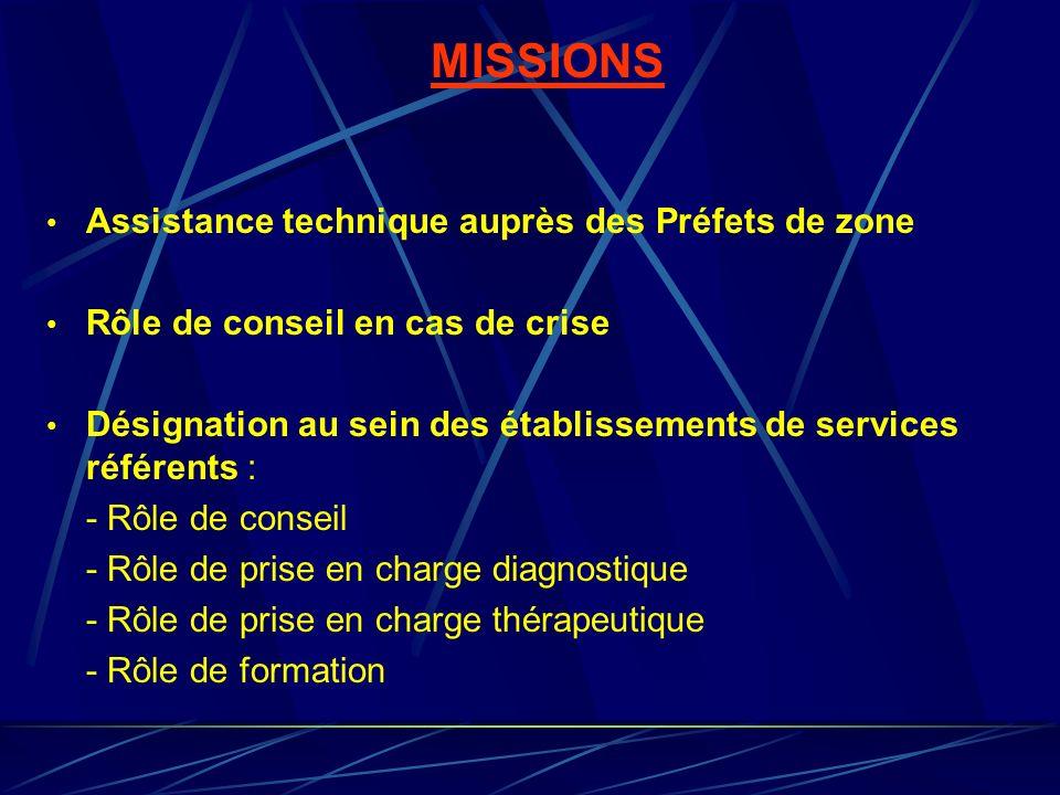 MISSIONS Assistance technique auprès des Préfets de zone Rôle de conseil en cas de crise Désignation au sein des établissements de services référents