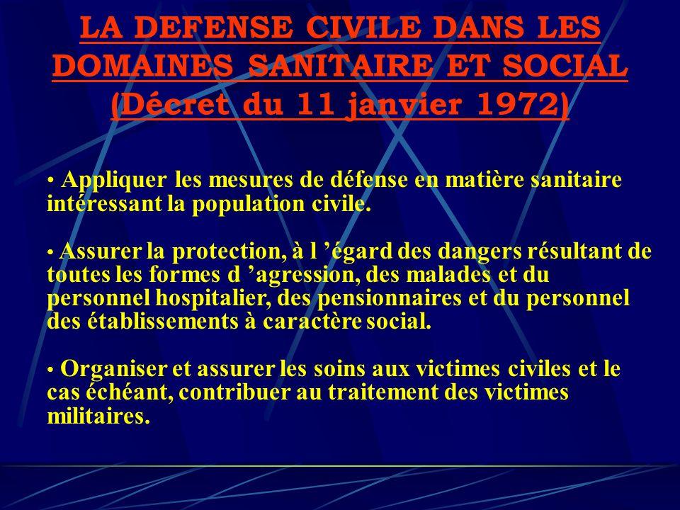 LA DEFENSE CIVILE DANS LES DOMAINES SANITAIRE ET SOCIAL (Décret du 11 janvier 1972) Appliquer les mesures de défense en matière sanitaire intéressant