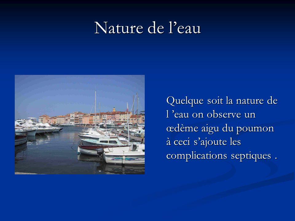 Nature de leau Quelque soit la nature de l eau on observe un œdème aigu du poumon à ceci sajoute les complications septiques.