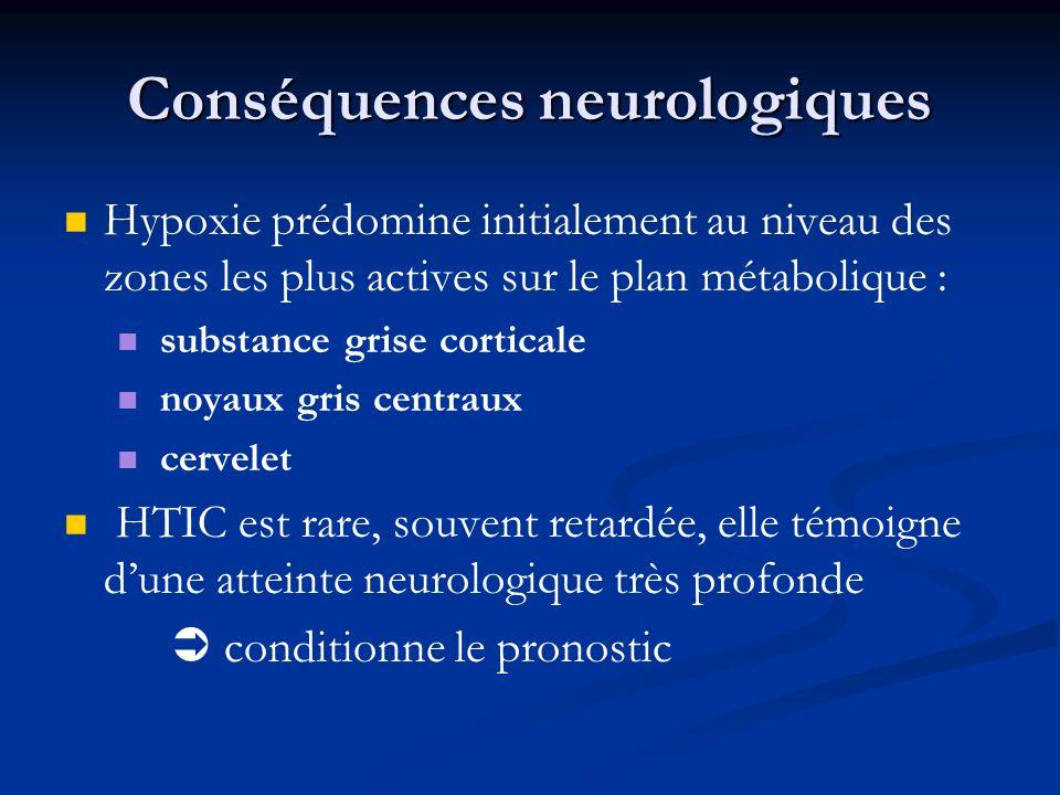 Conséquences neurologiques Hypoxie prédomine initialement au niveau des zones les plus actives sur le plan métabolique : substance grise corticale noy