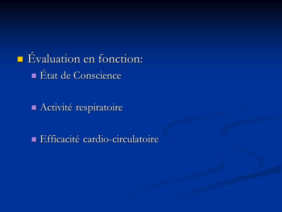 Évaluation en fonction: Évaluation en fonction: État de Conscience État de Conscience Activité respiratoire Activité respiratoire Efficacité cardio-ci