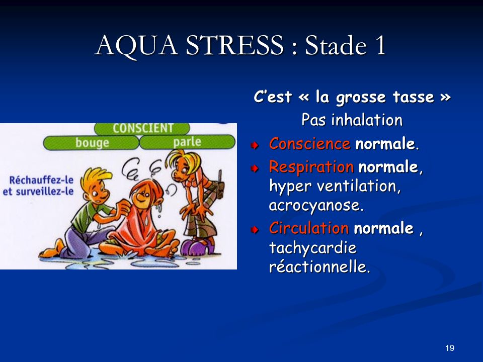 19 AQUA STRESS : Stade 1 Cest « la grosse tasse » Pas inhalation Conscience normale. Respiration normale, hyper ventilation, acrocyanose. Circulation