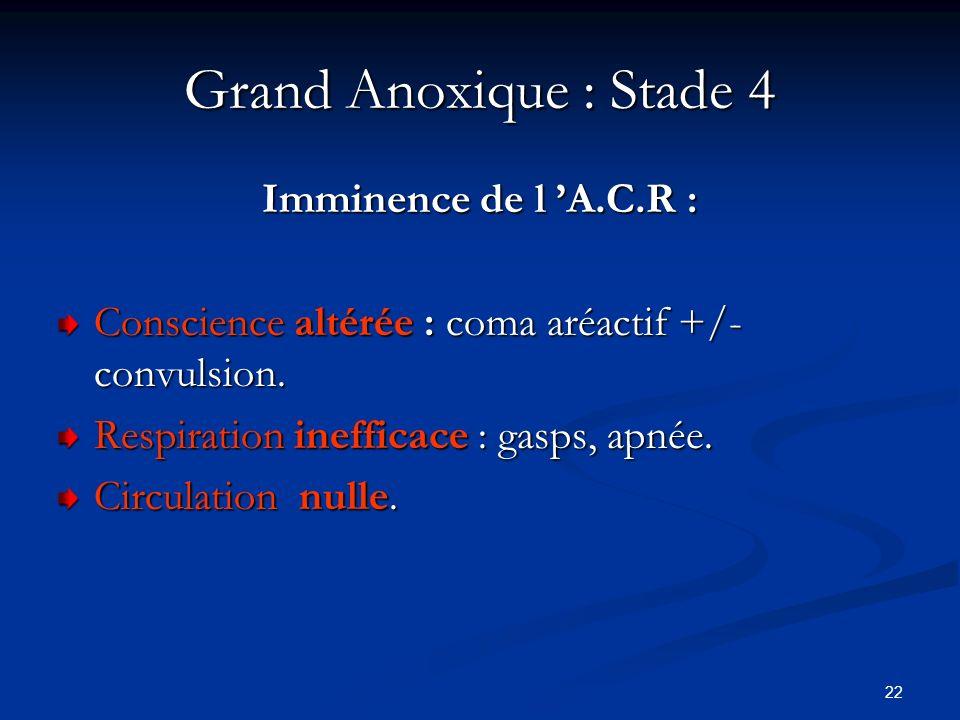 22 Grand Anoxique : Stade 4 Imminence de l A.C.R : Conscience altérée : coma aréactif +/- convulsion. Respiration inefficace : gasps, apnée. Circulati