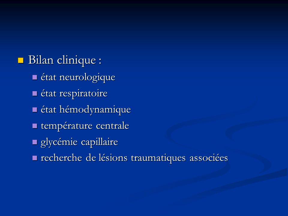Bilan clinique : Bilan clinique : état neurologique état neurologique état respiratoire état respiratoire état hémodynamique état hémodynamique tempér
