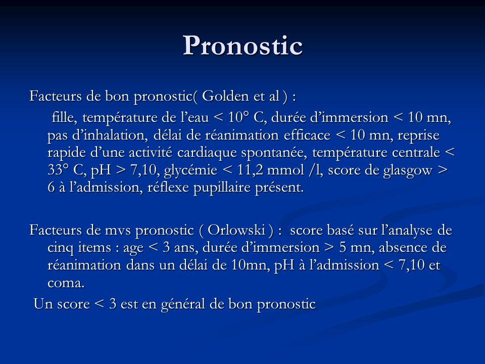 Pronostic Facteurs de bon pronostic( Golden et al ) : fille, température de leau 7,10, glycémie 6 à ladmission, réflexe pupillaire présent. fille, tem