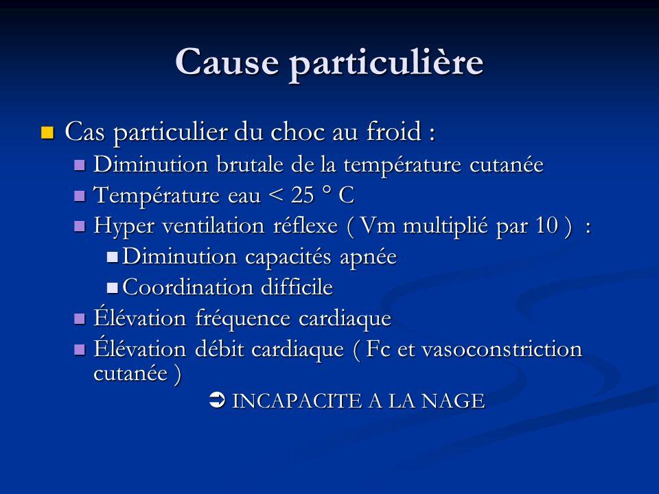 Cause particulière Cas particulier du choc au froid : Cas particulier du choc au froid : Diminution brutale de la température cutanée Diminution bruta