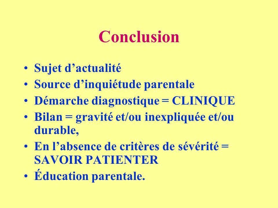Conclusion Sujet dactualité Source dinquiétude parentale Démarche diagnostique = CLINIQUE Bilan = gravité et/ou inexpliquée et/ou durable, En labsence