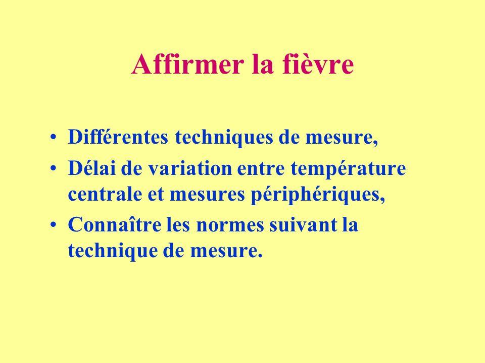 Affirmer la fièvre Différentes techniques de mesure, Délai de variation entre température centrale et mesures périphériques, Connaître les normes suiv