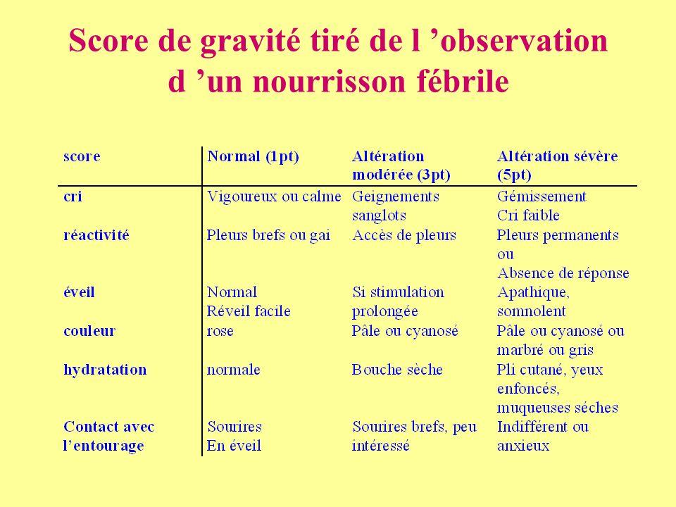 Score de gravité tiré de l observation d un nourrisson fébrile