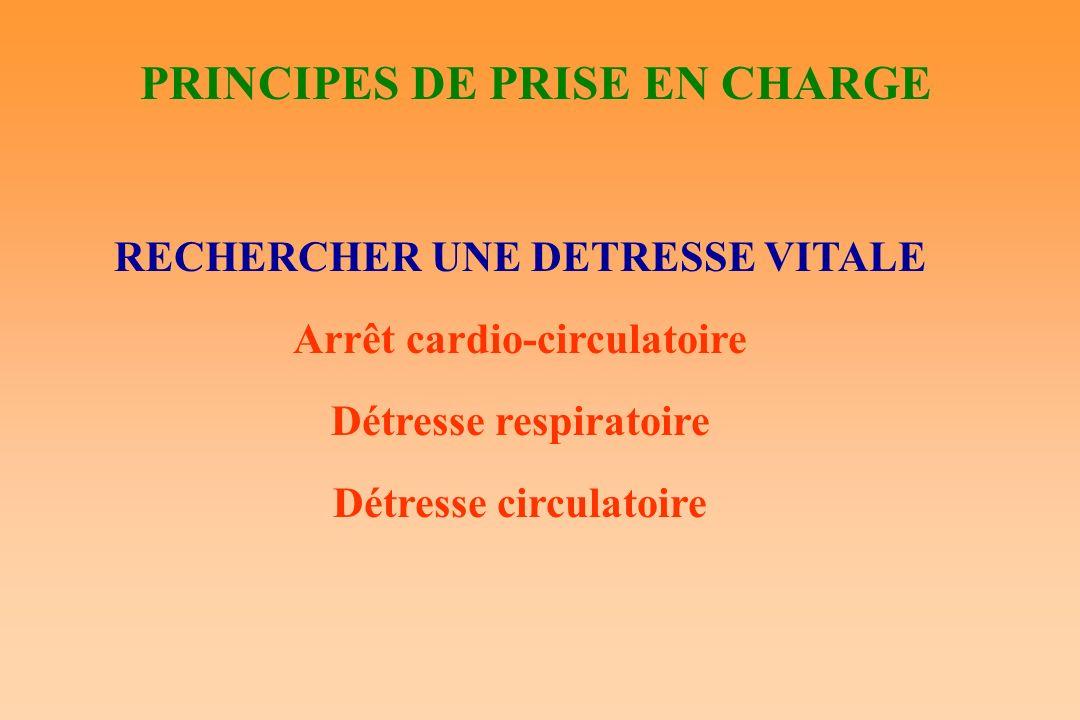 PRINCIPES DE PRISE EN CHARGE RECHERCHER UNE DETRESSE VITALE Arrêt cardio-circulatoire Détresse respiratoire Détresse circulatoire