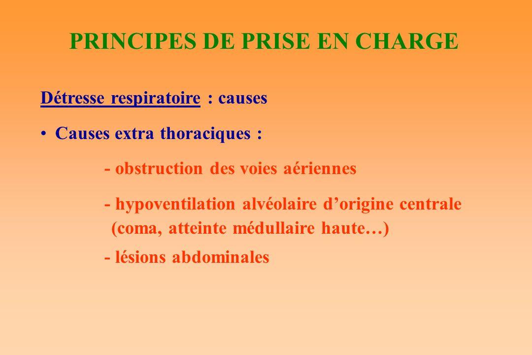 PRINCIPES DE PRISE EN CHARGE Détresse respiratoire : causes Causes extra thoraciques : - obstruction des voies aériennes - hypoventilation alvéolaire