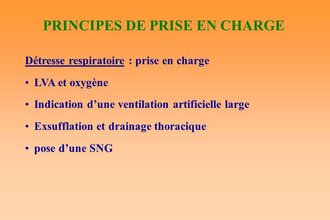 PRINCIPES DE PRISE EN CHARGE Détresse respiratoire : prise en charge LVA et oxygène Indication dune ventilation artificielle large Exsufflation et dra