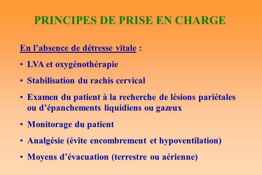 PRINCIPES DE PRISE EN CHARGE En labsence de détresse vitale : LVA et oxygénothérapie Stabilisation du rachis cervical Examen du patient à la recherche