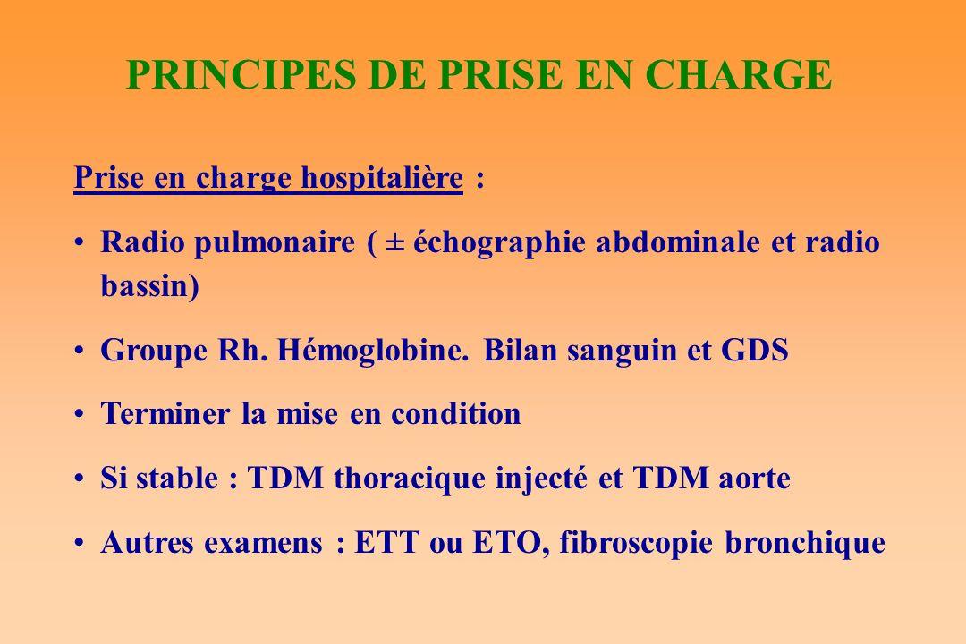 PRINCIPES DE PRISE EN CHARGE Prise en charge hospitalière : Radio pulmonaire ( ± échographie abdominale et radio bassin) Groupe Rh. Hémoglobine. Bilan