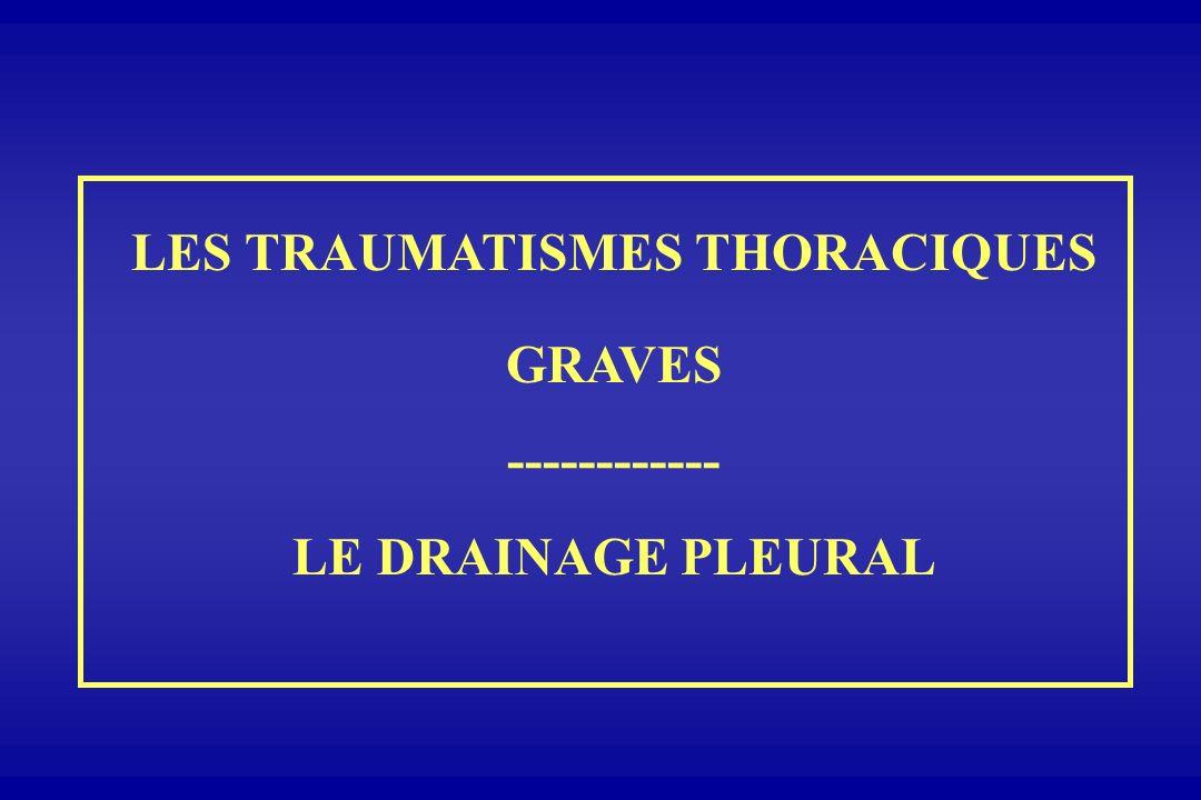 LES TRAUMATISMES THORACIQUES GRAVES ------------ LE DRAINAGE PLEURAL