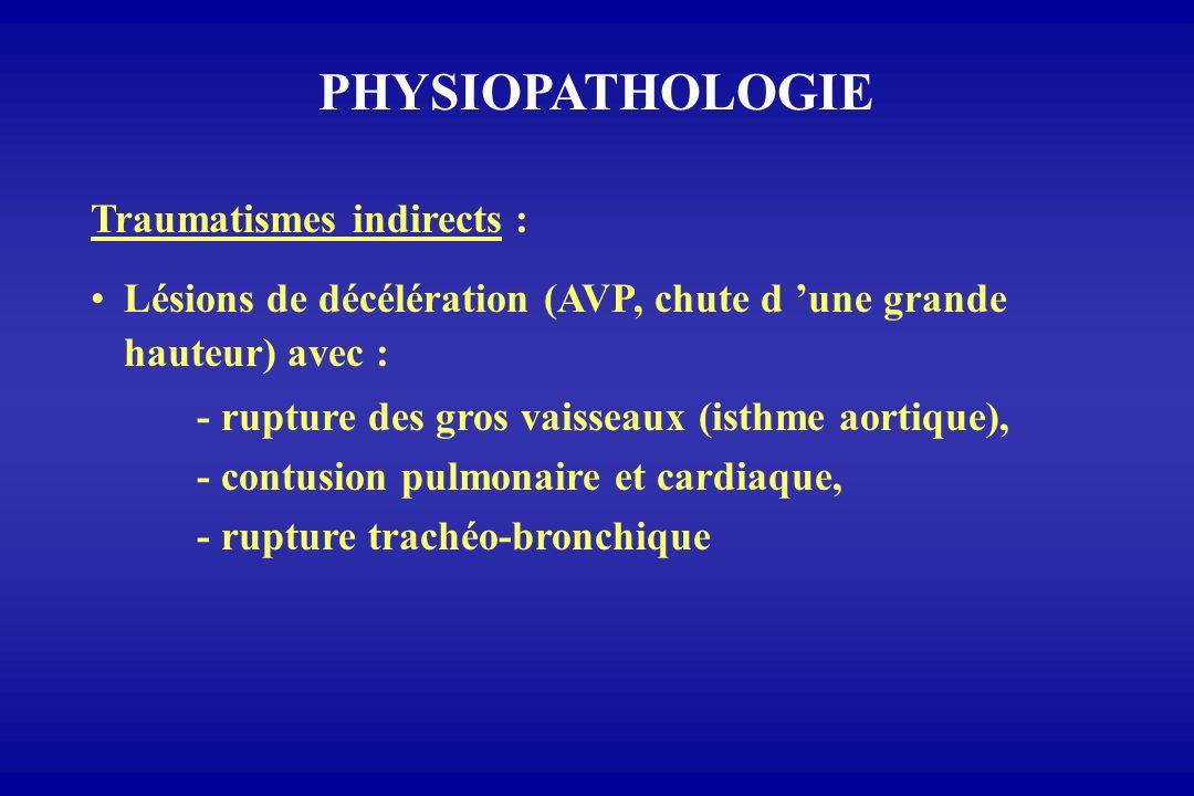 PHYSIOPATHOLOGIE Traumatismes indirects : Lésions de décélération (AVP, chute d une grande hauteur) avec : - rupture des gros vaisseaux (isthme aortiq