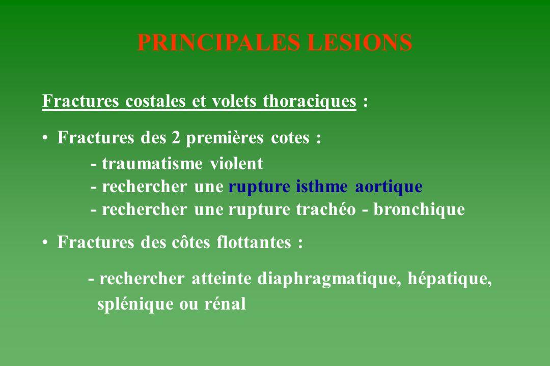 PRINCIPALES LESIONS Fractures costales et volets thoraciques : Fractures des 2 premières cotes : - traumatisme violent - rechercher une rupture isthme