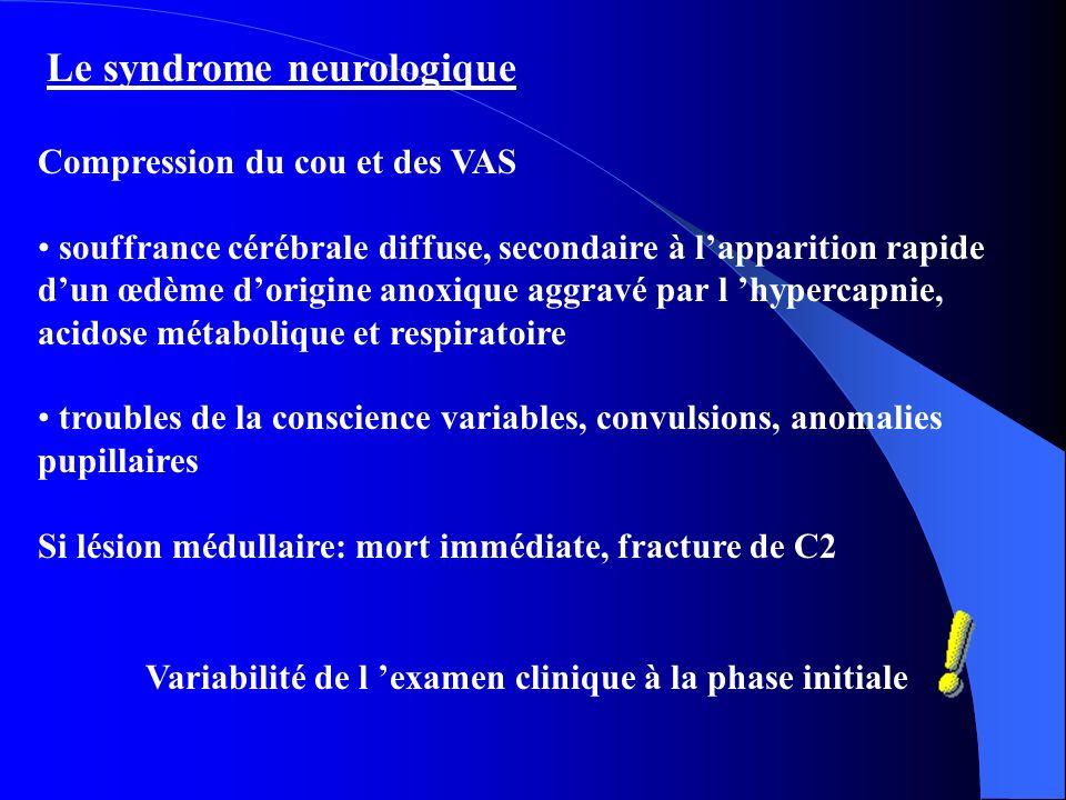Le syndrome neurologique Compression du cou et des VAS souffrance cérébrale diffuse, secondaire à lapparition rapide dun œdème dorigine anoxique aggravé par l hypercapnie, acidose métabolique et respiratoire troubles de la conscience variables, convulsions, anomalies pupillaires Si lésion médullaire: mort immédiate, fracture de C2 Variabilité de l examen clinique à la phase initiale
