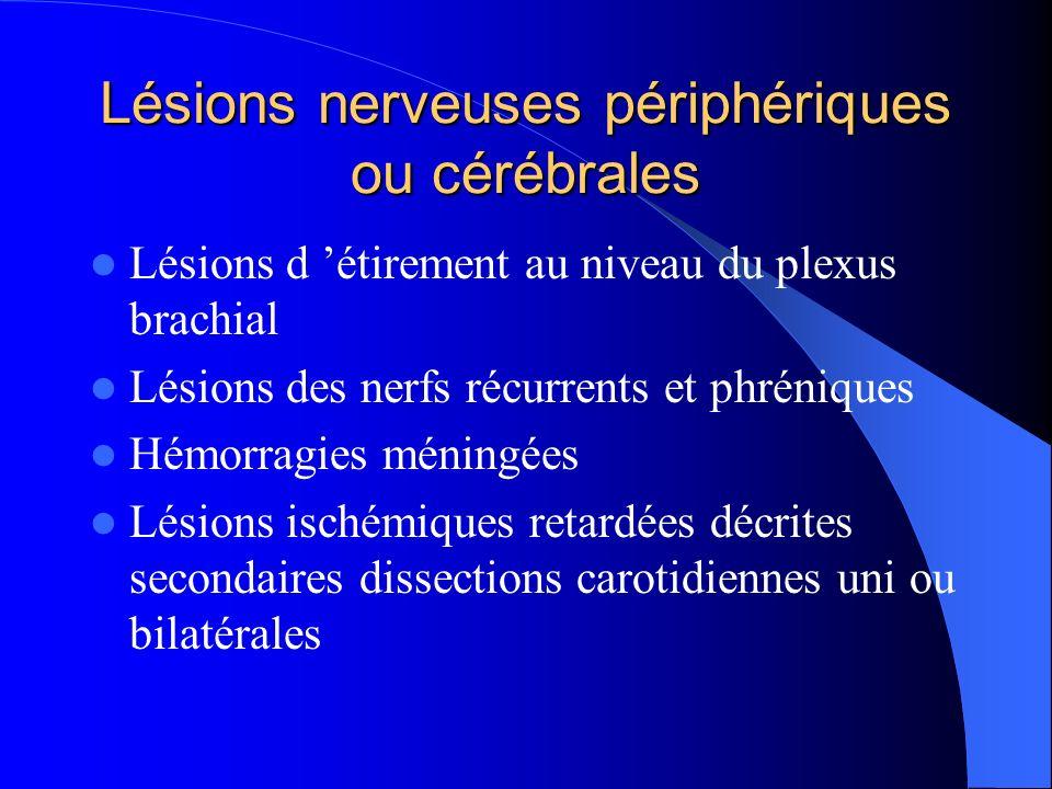 Lésions nerveuses périphériques ou cérébrales Lésions d étirement au niveau du plexus brachial Lésions des nerfs récurrents et phréniques Hémorragies méningées Lésions ischémiques retardées décrites secondaires dissections carotidiennes uni ou bilatérales