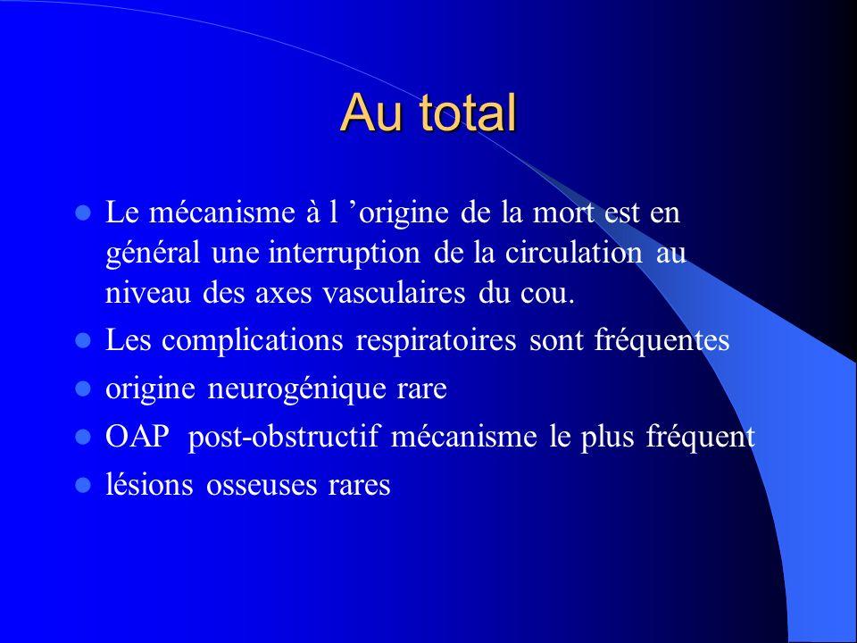 Au total Le mécanisme à l origine de la mort est en général une interruption de la circulation au niveau des axes vasculaires du cou.