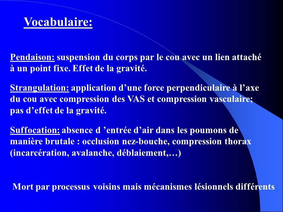 Vocabulaire: Pendaison: suspension du corps par le cou avec un lien attaché à un point fixe. Effet de la gravité. Strangulation: application dune forc