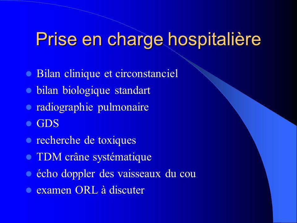 Prise en charge hospitalière Bilan clinique et circonstanciel bilan biologique standart radiographie pulmonaire GDS recherche de toxiques TDM crâne systématique écho doppler des vaisseaux du cou examen ORL à discuter