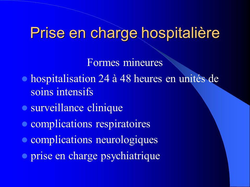 Prise en charge hospitalière Formes mineures hospitalisation 24 à 48 heures en unités de soins intensifs surveillance clinique complications respiratoires complications neurologiques prise en charge psychiatrique