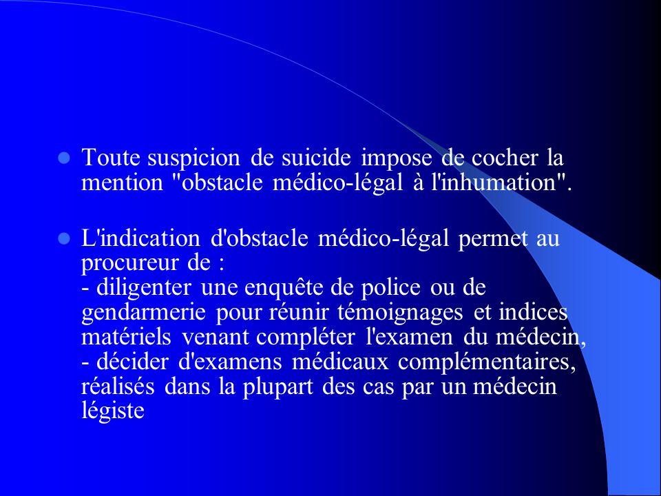 Toute suspicion de suicide impose de cocher la mention obstacle médico-légal à l inhumation .