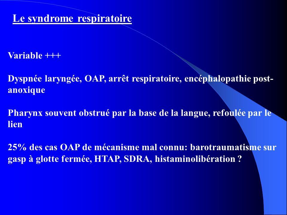 Le syndrome respiratoire Variable +++ Dyspnée laryngée, OAP, arrêt respiratoire, encéphalopathie post- anoxique Pharynx souvent obstrué par la base de la langue, refoulée par le lien 25% des cas OAP de mécanisme mal connu: barotraumatisme sur gasp à glotte fermée, HTAP, SDRA, histaminolibération ?