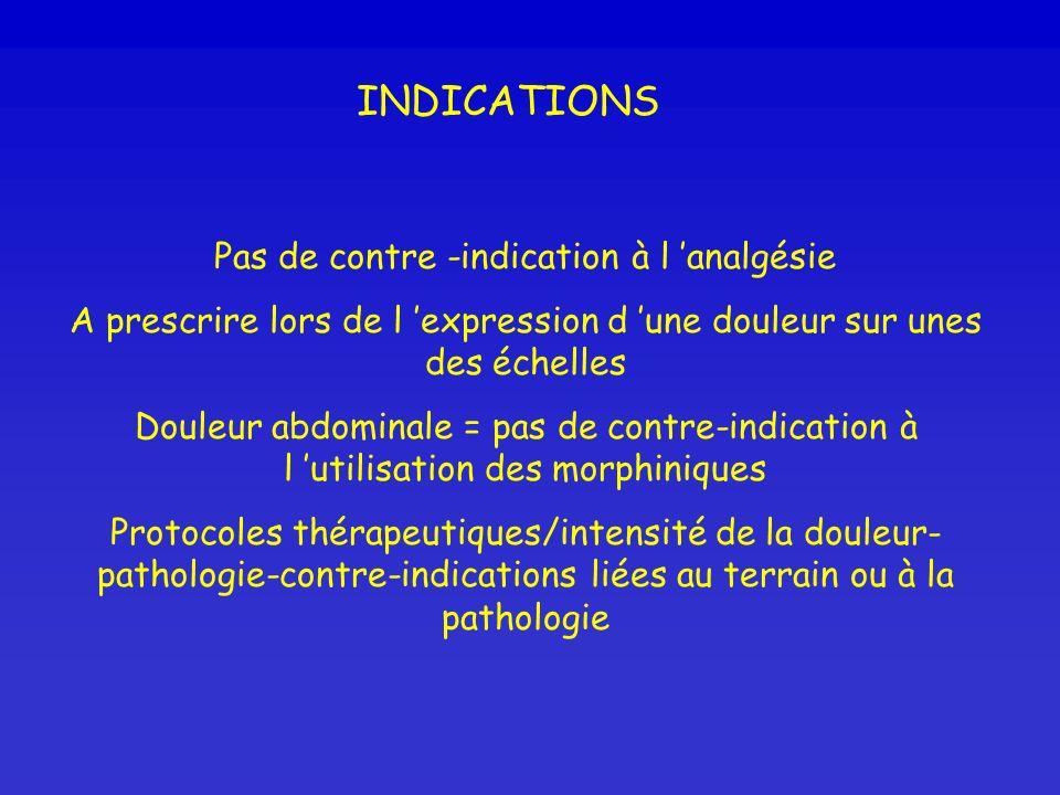 INDICATIONS Pas de contre -indication à l analgésie A prescrire lors de l expression d une douleur sur unes des échelles Douleur abdominale = pas de c
