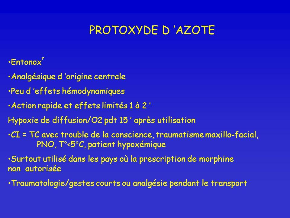 PROTOXYDE D AZOTE Entonox r Analgésique d origine centrale Peu d effets hémodynamiques Action rapide et effets limités 1 à 2 Hypoxie de diffusion/O2 p
