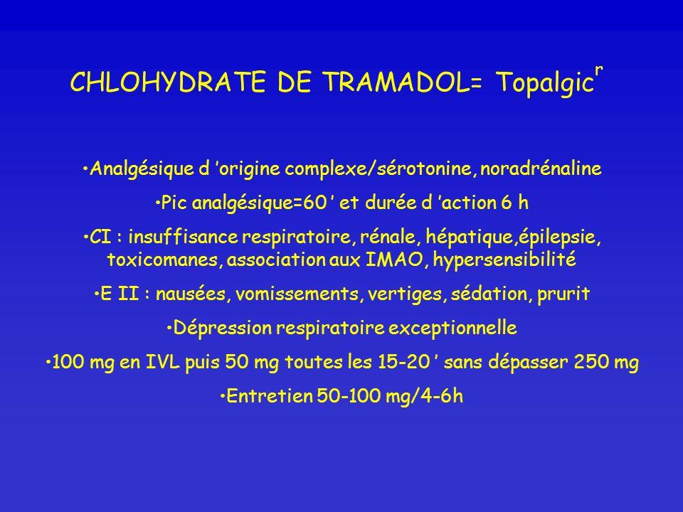 CHLOHYDRATE DE TRAMADOL= Topalgic r Analgésique d origine complexe/sérotonine, noradrénaline Pic analgésique=60 et durée d action 6 h CI : insuffisanc