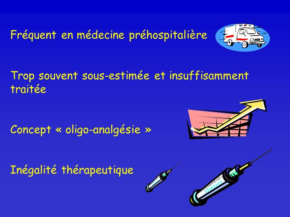 Fréquent en médecine préhospitalière Trop souvent sous-estimée et insuffisamment traitée Concept « oligo-analgésie » Inégalité thérapeutique