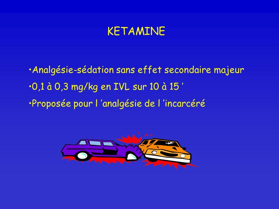 KETAMINE Analgésie-sédation sans effet secondaire majeur 0,1 à 0,3 mg/kg en IVL sur 10 à 15 Proposée pour l analgésie de l incarcéré