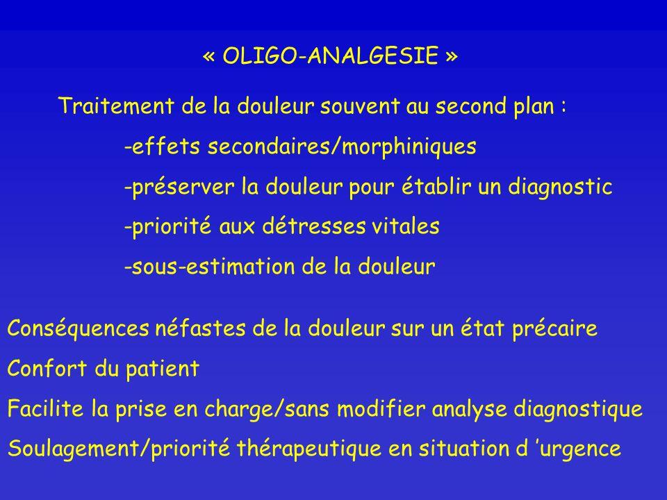 « OLIGO-ANALGESIE » Traitement de la douleur souvent au second plan : -effets secondaires/morphiniques -préserver la douleur pour établir un diagnosti