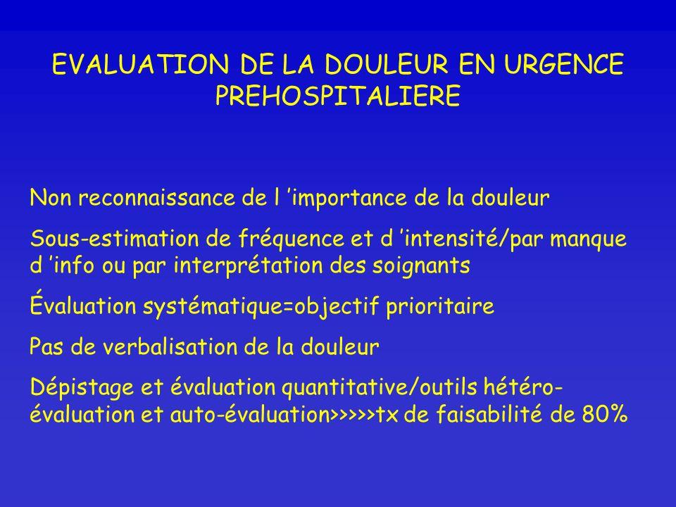 EVALUATION DE LA DOULEUR EN URGENCE PREHOSPITALIERE Non reconnaissance de l importance de la douleur Sous-estimation de fréquence et d intensité/par m