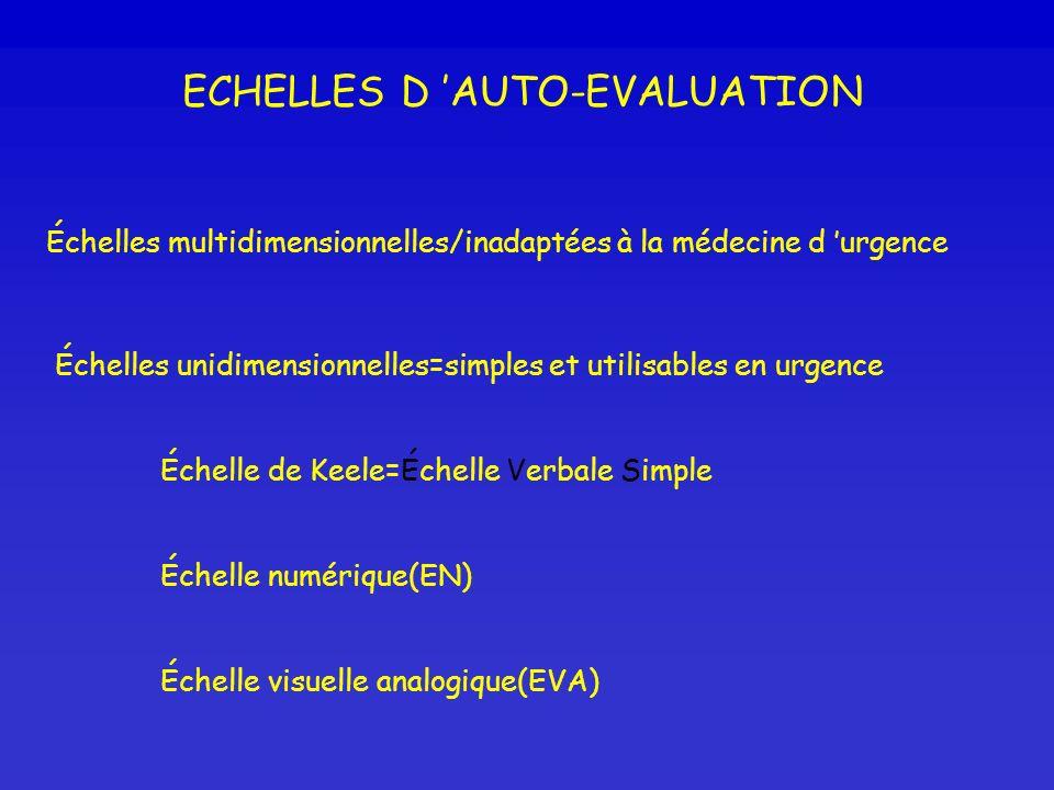 ECHELLES D AUTO-EVALUATION Échelles multidimensionnelles/inadaptées à la médecine d urgence Échelles unidimensionnelles=simples et utilisables en urge
