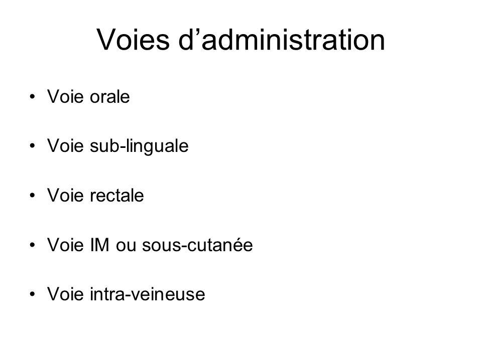 Voies dadministration Voie orale Voie sub-linguale Voie rectale Voie IM ou sous-cutanée Voie intra-veineuse