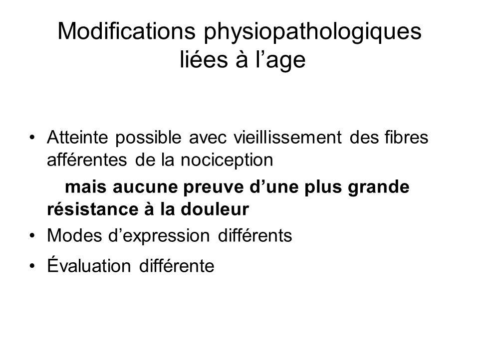 Modifications physiopathologiques liées à lage Atteinte possible avec vieillissement des fibres afférentes de la nociception mais aucune preuve dune p