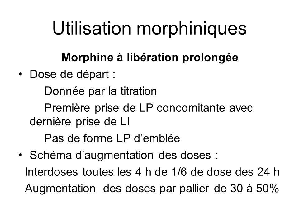 Utilisation morphiniques Morphine à libération prolongée Dose de départ : Donnée par la titration Première prise de LP concomitante avec dernière pris
