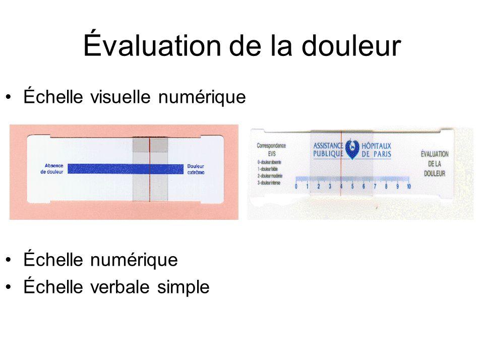 Évaluation de la douleur Échelle visuelle numérique Échelle numérique Échelle verbale simple