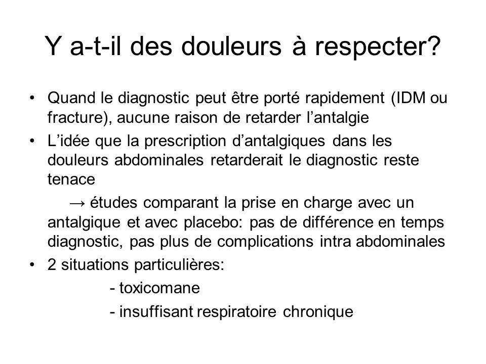 Y a-t-il des douleurs à respecter? Quand le diagnostic peut être porté rapidement (IDM ou fracture), aucune raison de retarder lantalgie Lidée que la